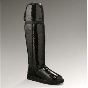 Knee High Black Sequin Ugg Boots Eva